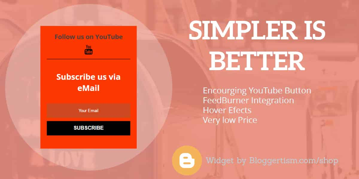 Simple and Clean Email Subscription widget for Blogger with YouTube Icon